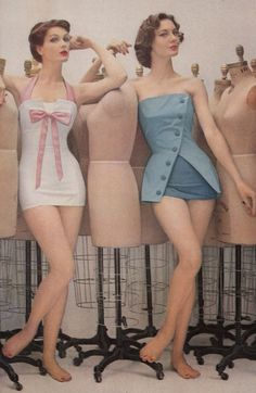 vogue fashion 1957 | Love both of these swimsuits, I think that white one would flatten my ...