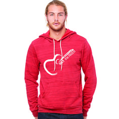 b3000df31ad 98.1 The River - Red UNISEX Marble Hoodie - White Print