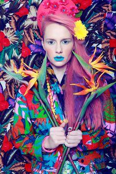 Blue eyeshadow, blue lipstick! (The Power of Flowers Fashion Photoshoot Publish on Perfecto Magazine)