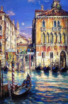 Cao Yong premier art gallery believes in the philosophy of offering dealer prices to the public. We specialize in Cao Yong art, paintings, and print available at great prices. Cao Yong was the official artist of the 2008 Olympics us for pricing at Venice Painting, Painting Art, Pintura Exterior, Sunset Canvas, Venice Italy, Canvas Art Prints, Watercolor Art, Framed Art, Scenery