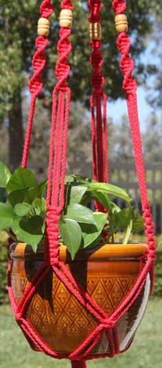 ROYALE rojo de CROWNE Macrame hecha a mano planta planta