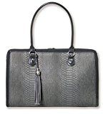 BfB Laptop Notebook Computer Shoulder Bag For Women - Lightweight Hand Made Briefcase With Up To 17 Inch Laptop Sleeve - Designed For Busy Working Women - Business Can Be Beautiful - CHARCOAL GREY