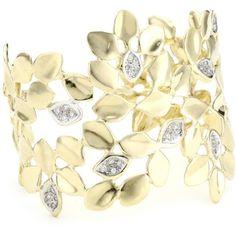 "Alex Woo ""Vida"" Diamond And 14k Yellow Gold Leaf Cuff Bracelet ($9,798) ❤ liked on Polyvore"
