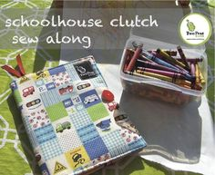 Last weekend, Sprout was invited to a birthday party and I made one of these little notebook take alongs for a gift using my Schoolhouse Clutch pattern. This small simple project is a bonus included with the clutch.  Not only does this size make great gifts for kids but it's really a great teacher