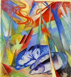 Art portfolio of the (World) Munich, Germany-based artist Franz Marc. Franz Marc was a German painter and printmaker, one of the key figures of the Franz Marc, Wassily Kandinsky, Cavalier Bleu, Sleeping Animals, Expressionist Artists, Image Painting, Blue Horse, Blue Rider, Animal Paintings