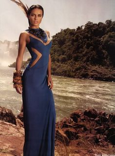 adriana lima just shot this for vogue brazil. how beautiful! blue looks amazing on her skin.