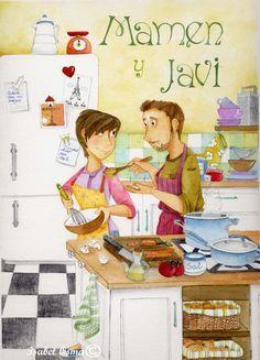 Ilustracion Isabel Osma  Amor y cocina