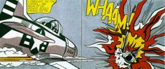 """Famous artist Roy Lichtenstein uses onomatopoeias in his comic-like art. In this particular work Lichtenstein uses """"WHAM!"""" to capture the crashes impact."""
