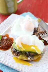 Southwestern Eggs Benedict with Black Bean Spread, Avocado & Salsa