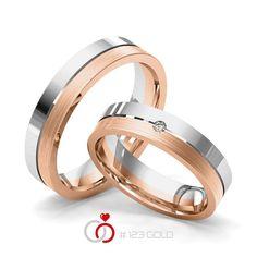 1 Paar Trauringe - Legierung: Weißgold 585/- Rotgold 585/- Breite: 5,00 - Höhe: 1,60 - Steinbesatz: 1 Brillant 0,025 ct. tw, si (Ring 1 mit Steinbesatz, Ring 2 Trauringe Steinbesatz)
