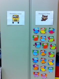 Attendance idea: maybe smaller, as to not take up unnecessary space. Lunch count on cabinet door so, love the character card idea Classroom Attendance, Preschool Classroom Decor, Owl Theme Classroom, Classroom Setup, Kindergarten Classroom, Classroom Organization, Future Classroom, Preschool Attendance Ideas, Classroom Management