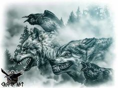 Geri, Freki, Huginn and Muninn by thecasperart on DeviantArt (Odin's wolves and RAVENS! Wolf Tattoos, Nature Tattoos, Body Art Tattoos, Sleeve Tattoos, Kurt Tattoo, Tattoo On, Norse Tattoo, Raven Tattoo, Panzer Tattoo