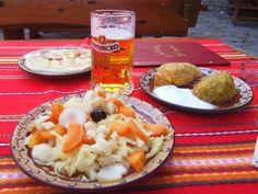 ~Stuffed cabbage leaves with Bulgarian yogurt, pickled veggies and flat bread......Koprivstitsa, Bulgaria.....April, 2012