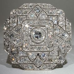 Spectacular Platinum Art Deco 6+ carat Diamond Pin & Pendant, France ca. 1910s