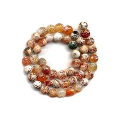 "Fire Agate Beads Faceted Rounds~7mm ~Orange Crackle Design ~15"" Strd"