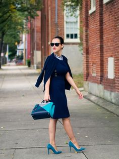 navy dress with blue bag and shoes
