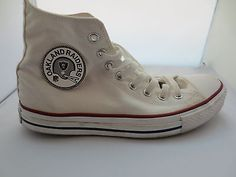 Vintage Oakland Raiders Leather NFL Converse Chuck Taylor Patch Circa 1970s