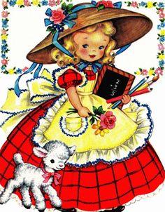 Mary Had A Little Lamb 1940s Vintage Digital by poshtottydesignz