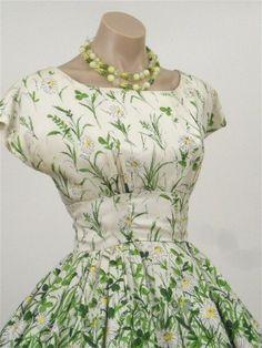 50s 60s silk floral daisy print party dress, vintage dresses