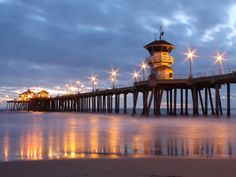 """Huntington Beach Pier, Huntington Beach, California - Popularly known as """"Surf City,"""" Huntington Beach is home to the world famous municipal pier, and is a west coast surf mecca for more than 8 million visitors annually. Huntington Beach California, California Travel, Southern California, California Honeymoon, California Sunset, Wallpaper Wide, Wonderful Places, Beautiful Places, Beautiful Pictures"""