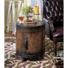 Butler Heritage Side Duffle Table with Old World Map Surface