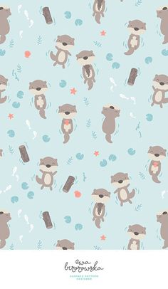 Otters - unisex minimal surface pattern design for children. Textile pattern design with the otters motifs. Otters - unisex minimal surface pattern design for children. Textile pattern design with the otters motifs. Textile Pattern Design, Surface Pattern Design, Pattern Art, Print Pattern Design, Print Patterns, Kawaii Wallpaper, Cute Wallpaper Backgrounds, Cute Wallpapers, Baby Illustration