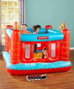 "Your kids will have so much fun with the Fisher-Price Bouncetastic Bouncer. This inflatable bounce house is great for parties, as well as for everyday use. It encourages kids to get up off the couch and be active. Its removable protective walls keep them safe and have an opening for easy in/out. Indoor use only. Weight capacity, 188 lbs. 69""W x 68""D x 53""H. PVC. For ages 3 and up."