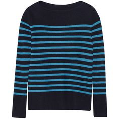 Vince Striped ribbed cashmere sweater ($207) ❤ liked on Polyvore featuring tops, sweaters, blue, rib sweater, blue top, striped sweater, striped cashmere sweater and ribbed top