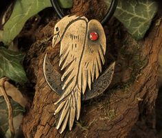 Big, Bold Shaman Raven and Moon Pendant Necklace with on Leather Cord - Handmade…