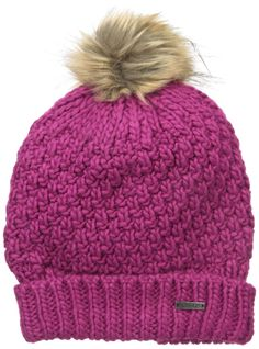 womens thermal hats flecce lined bllack plum purple pink chunky kint ski beanie