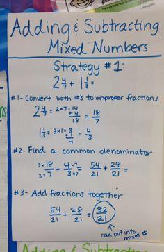 Adding and Subtracting Mixed Numbers Math Charts, Math Anchor Charts, Math Strategies, Math Resources, Math Fractions, Multiplication Tricks, Homeschool Math, Homeschooling, Math Notes