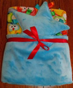 Minky and Flannel large blanket and taggie by BlessingsandBabies, $30.00