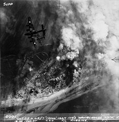 Aerial photograph of bombing raid over Wangerooge in the North Sea. National Archives (UK) World War II.