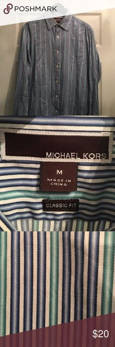 Men's Michael Kors Striped Button Down Shirt Michael Kors, Medium, Blue and Green striped dress shirt.  See Image!  Excellent condition! Worn once or twice.  Smoke-free home. Michael Kors Shirts Dress Shirts
