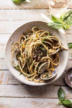 Buttery Mushroom and Clam Pasta | halfbakedharvest.com #pasta #easyrecipe #summerrecipes Clam Pasta, Pot Pasta, Seafood Pasta, Seafood Dinner, Pasta Dishes, Seafood Recipes, Pasta Recipes, Dinner Recipes, Cooking Recipes