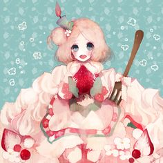 Pechika, Candle, Holding Food, Strawberry, Food (Personification), Silverware