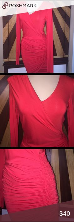 Sexy Red David Bitton Dress Form fitting, true red, XS,  worn once Buffalo David Bitton Dresses