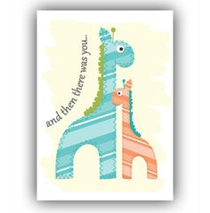 5x7 Mom and Baby Giraffe Art Print  Aqua Green and by BabieGee, $7.00
