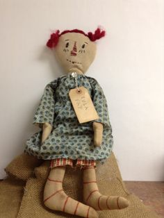 Primitive Annie Doll Vintage Annie Doll Shelf Sitter Doll Farmhouse Decor Bookcase Art