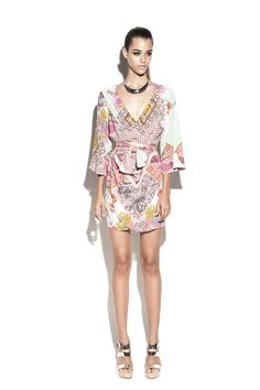 a4698887752 Easy to wear kimono style wrap dress with draping detail and waist tie. 100%