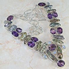 SPECTACULAR GENUINE AMETHYST, MOONSTONE & BIWA PEARL SILVER NECKLACE 23""