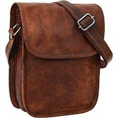 """Gusti Leder nature """"Tamara"""" Genuine Leather Shoulder Messenger Shopper Tote Handbag 7.9"""" Tablet Bag Unisex Vintage Natural Brown Goatskin K66b"""