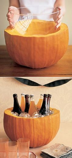 Cut the top off of a pumpkin and use it as an ice bucket. We love this fun and festive idea for a fall party, birthday party, and more.