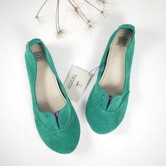 Emerald Aqua Green Suede Handmade Oxford Shoes by elehandmade, $140.00