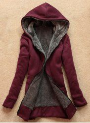 Stylish Long Sleeves Solid Color Flocking Hooded Hoodie For Women