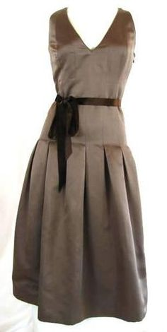 HEIDI WEISEL + Taupe 100% SILK V NECK A LINE DRESS WITH VELVET RIBBON BELT SZ 4 | eBay  $175.69