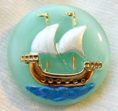 Czech Glass Button - Clipper Ship - Mint Jadeite Glass Moonglow Picture Button w/ Enameled Detail