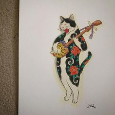 Risultati immagini per hoitomo monmon cat Arte Ninja, Japanese Cat, Japanese Tattoo Art, Asian Tattoos, Japan Tattoo, Illustration Art, Illustrations, Irezumi, Japan Art