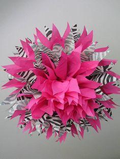 Zebra & Hot Pink Tissue Pom  http://www.nashvillewrapscommunity.com/blog/2010/07/how-to-make-tissue-flower-pom-poms/