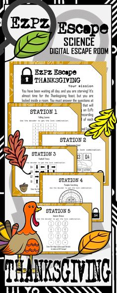 Keep your students engaged in learning science, even before Thanksgiving/ Fall break. Students will have a blast with this Thanksgiving Science Digital Escape Room! Students will use their knowledge of middle school science topics to make an EzPz Escape!
